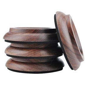 KingPoint, lot de 4 coupelles en bois dur pour roulette de piano droit, tampons de protection pour pieds de meuble noir/noyer