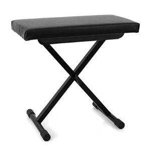 MALONE Tabouret de Piano (pour Piano, Clavier, synthé, siège épais Confortable, Housse en Cuir synthétique résistant, 3 hauteurs réglables, Pieds en Caoutchouc) – Noir