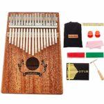 Mbira Kalimba 17 Touches Pouce Piano, Instrument De Musique à Clavier En Acajou Avec Accessoires Complets, Cadeau De Festival Pour Camarade De Classe DéButant Musicien Adulte,Natural