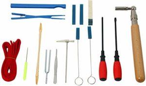 NiceDD Kit de réglage professionnel 16 pièces pour piano Ensemble d'outils de réglage inclus Marteau d'accordage, levier, fourchette, marteau, sourdine, etc. Avec un sac de rangement
