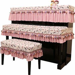 Nobrannd Housse de Piano Pratique 3PCS Piano Droit Couverture Tabouret et Clavier Protection poussière Tissu Couverture imprimée Pendentif élégant antidérapante Durable (Color : Pink, Size : 76x36cm)
