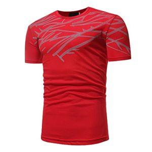 Nouveau Deals,T-Shirt pour Homme Ronamick Impression Col rond T-Shirt Mouvement Collants Manches Courtes chemisier Gymnase Muscle Charme Masculin Tops Blouse Tunique(M, rouge)
