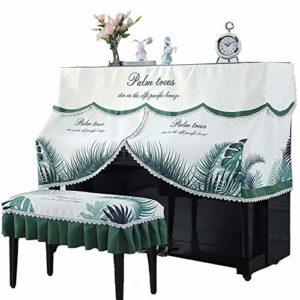 Piano Droit Parfaitement Dentelle Palmier Motif Tissu de Protection Anti-poussière décoratif Couverture avec Banc Couverture Durable Reprise de Piano (Couleur : Green, Taille : 40x60cm)