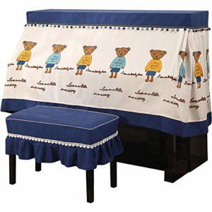 Piano Droit poussière Demi-Couverture avec Banc Couverture Verticale Standard de Protection en Tissu Pianos Cartoon Couverture Durable Reprise de Piano (Couleur : Blue, Taille : 56x36cm)