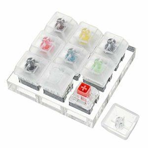PKA Interrupteur à 9 touches Kailh Box avec base en acrylique et touches transparentes