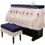 Protection Fil Double Tissu en Coton Couverture Piano Demi Couverture Couverture avec Banc for Verticale Standard Pianos Durable Reprise de Piano (Couleur : Blue, Taille : 76x36cm)