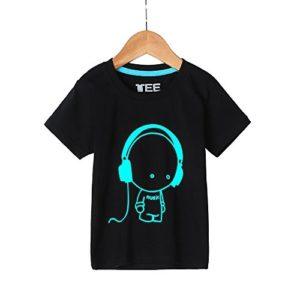 T-Shirt pour Homme Ronamick Écouteurs garçon Impression Tee shirt Mode La fluorescence Classique Manches Courtes chemisier Blouse Tops Blouse Tunique(L, Noir)