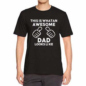 T-Shirt pour Homme Ronamick Fête des pères Impression Lettre sous-Chemise Chemise Tee Shirt Mode Simple Casual Classique Respirant Svelte Tunique Tops Blouse(NOIR, S)