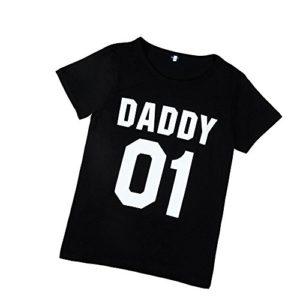 T-Shirt pour Homme Ronamick Parent-enfant Lettre Impression Tee shirt Quotidiens sous-Chemise Loisir Classique chemisier Manche courte Tops Blouse Tunique(S, noir)