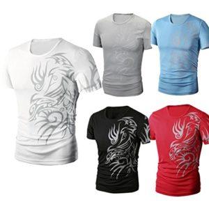 T-Shirt pour Homme Ronamick Tee shirt Couleur unie Impression Fitness Workout sous-Chemise Manche Courte chemisier Blouse Tops Blouse Tunique(4XL, Bleu)