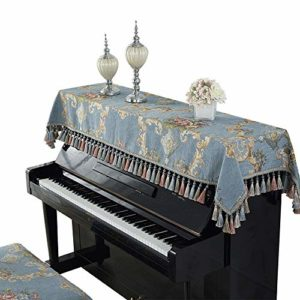 Vobajf Housse de piano droite en tissu pour clavier de piano serviette de piano Housse de protection contre la poussière sacs de qualité, couvertures et étuis, Tissu, bleu, 90x220cm