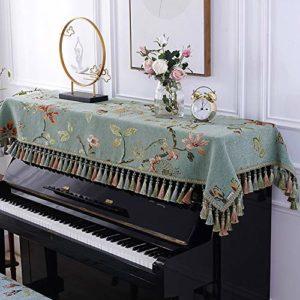 Vobajf Housse pour piano européen Demi-housse en tissu durable avec piquets suspendus en tissu résistant à la poussière avec housses de tabouret, housses et étuis, Tissu, Vert, 90x220cm