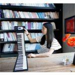 WOHAO Piano numérique for Les Enfants à la Main Piano Roll Débutant Clavier Jouets Piano Instrument de Musique de Formation d'entrée Pliante 88 clés (Couleur: Blanc) (Color : Black)