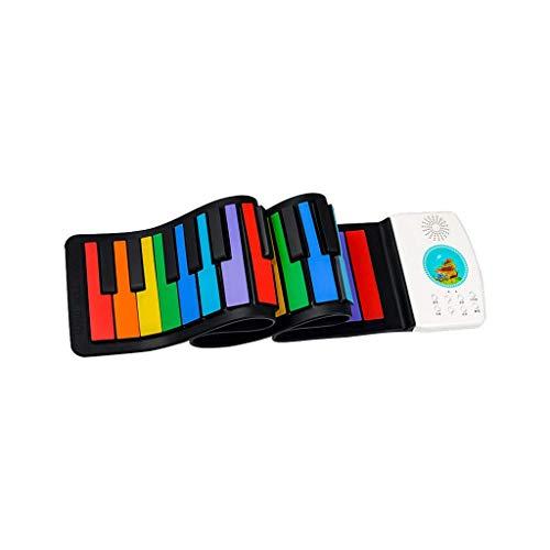 WOHAO Piano numérique Mains en Rouleau électronique Enfants Piano Portable Pliant épaissie Jouet Instrument de Musique Plus de 3 Ans (Couleur: Blanc, Taille: 49 Touches)