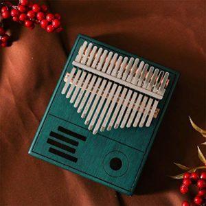 YZSL Kalimba 17 Clés Thumb Piano, Exquis Portable Mbira Sanza Acajou Finger Piano, Cadeau pour Les Enfants Adultes débutants Professionnel Bleu Brun,Bleu
