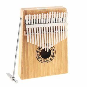 Chentaomayan – 17 touches Kalimba – Planche simple en bambou – Piano Mbira – Naturel – Mini clavier portable – Instrument avec accessoires complets
