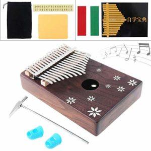 Chentaomayan Kalimba Mini piano à 17 touches en bois d'acacia avec incrustation de coquille à sept feuilles Mbira naturel clavier portable