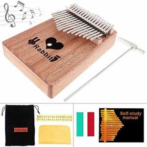 Chentaomayan Piano à 17 touches Kalimba solide en acajou avec motif fleurs Mbira Naturel Mini clavier Instrument