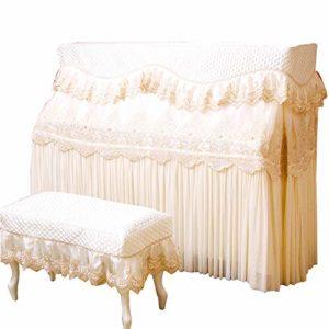 Clavier Couverture Piano Parfaitement européen Dentelle Tissu Tissu antipoussière Broderie Couverture for Verticale Standard Pianos Blanc Scratch Anti-poussière (Color : White, Size : 58x38cm)