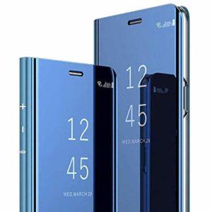 Dclbo Coque pour Xiaomi Mi Note 10 / Xiaomi Mi Note 10 Pro Housse Case Coque Miroir Étui Rigide avec Fonction Support Dure Plastique Flip Coque Élégant PU Cuir Back Cover Housse Antichoc Etui-Bleu