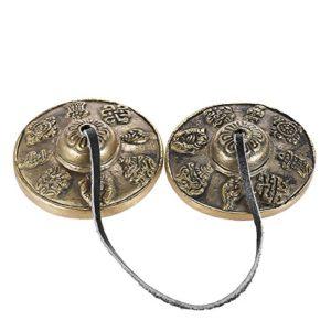 Doolland 2.6in/6.5cm Médaille Tibétaine Artisanale Clochette Cymbale Tingsha avec Symboles Chanceux Bouddhistes