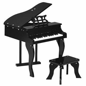 DREAMADE Piano à Queue pour Enfant, Piano d'Enfant en Bois, Piano avec 30 Touches, Piano à Queue avec Porte-Partitions et Banquette à Jouer pour Enfants