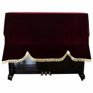 FADDARE 118-131 Couverture de protection pour piano vertical avec bord en velours, N° 0, rouge, Free Size