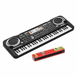 Fesjoy Clavier de piano numérique électronique à 61 touches avec double haut-parleur Microphone USB/alimenté par batterie + harmonica Tremolo 16 trous Instrument de musique pour enfants Jouet