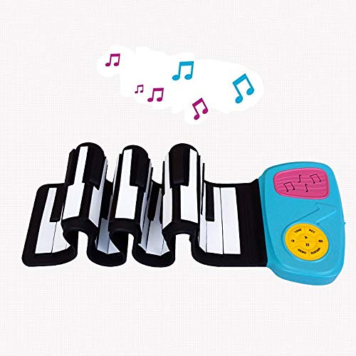 JJCFM Enfant 49 Clés Main Piano Roll, Portable Intelligent Version Rouleau À La Main Clavier Électronique, Silicone Souple Étanche Multifonctions Clés, Cadeau Spécial pour Les Enfants
