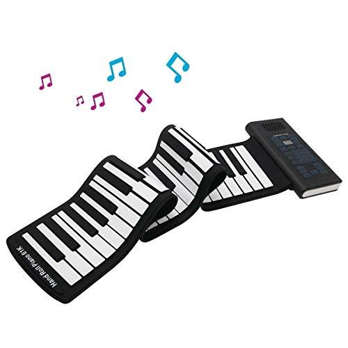 JJCFM Multifonction Main Piano Roll, 61 Clés Portable Adulte Mains en Rouleau Clavier Électronique, Pliant Silice Clavier Gel, avec Pédale De Sustain Et Haut-Parleur, Les Adultes Et Les Débutants