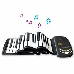 JJCFM Multifonction Main Piano Roll, 61 Touches Portable Intelligent Version Clavier Électronique Main Rouleau, Clés en Silicone Souple Étanche, Cadeau Spécial pour Les Enfants