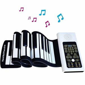 JJCFM Multifonction Main Piano Roll, 88 Clés Portable Adulte Version Rouleau Main Clavier Électronique, Clés en Silicone Souple, avec Pédale De Sustain Et Haut-Parleur, Les Adultes Et Les Débutants