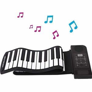 JJCFM Portable Rouleau Main Piano, 61 Touches Fold Main Rouleau Clavier électronique, Multifonction Gel de silice du Clavier virtuel, Cadeau spécial pour Les Enfants, Les Adultes et Les débutants