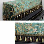 Peng sounded Housse de Protection pour Clavier de Piano 2-Piece Piano Droit Couverture Bordée Protection Anti-poussière Serviette Couverture avec Banc Couverture décorative Tissu Couverture