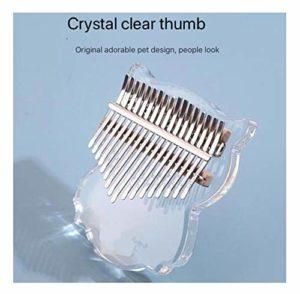 Piano à pouce 17 touches, cristal transparent de haute qualité boîte de protection ton marteau instrument de musique manuel portable pour enfants adultes débutants