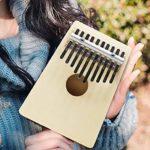 Piano à pouce 17 touches, piano à doigt en bois massif avec autocollants à l'échelle du livre de musique Tuning Hammer Music Gift