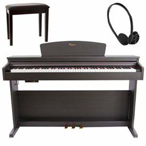 Pianova P-191 RW Pack Piano Numérique avec 88 Touches Contrastées d'action Marteau + Banquette + Écouteurs