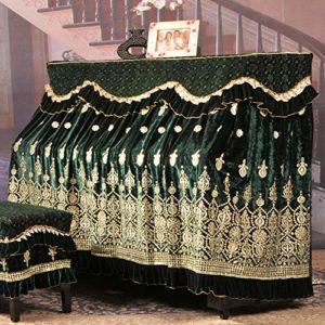 Ryyland-Home Housse de Protection pour Piano Ice Soie coréenne Toison Broderie Piano Parfaitement Tissu Dentelle Broderie antipoussière Tissu avec Tabouret Couverture Couverture Piano Droit