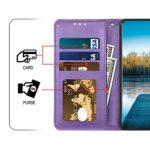 Saceebe Compatible avec Huawei P10 Lite Coque Cuir Etui Pochette Portefeuille Housse Brillante Glitter Fleur de cerisier Chat Fleur Motif Flip Case Rabat Magnétique Porte-Cartes,Violet
