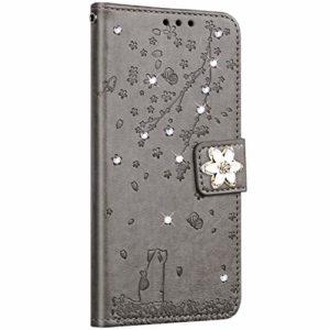 Saceebe Compatible avec Huawei P10 Lite Coque Pochette Portefeuille Housse Cuir Glitter Diamant Fleur de cerisier Chat Coque Flip Case Support Stand Housse Magnétique Étui à Rabat,Gris