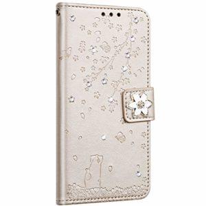 Saceebe Compatible avec Huawei P10 Lite Coque Pochette Portefeuille Housse Cuir Glitter Diamant Fleur de cerisier Chat Coque Flip Case Support Stand Housse Magnétique Étui à Rabat,Or