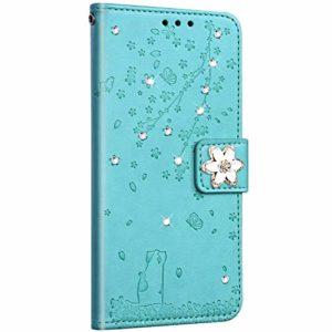 Saceebe Compatible avec Huawei P10 Lite Coque Pochette Portefeuille Housse Cuir Glitter Diamant Fleur de cerisier Chat Coque Flip Case Support Stand Housse Magnétique Étui à Rabat,Vert