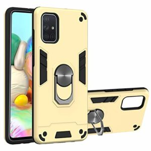 SHUYIT Coque Samsung Galaxy A71, Étui de Protection PC + TPU Souple Case avec 360° Rotation Aimant Anneau Support de Voiture Antichoc Armure Cover Housse pour Samsung Galaxy A71 -d'or