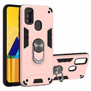 SHUYIT Coque Samsung Galaxy M30s, Étui de Protection PC + TPU Souple Case avec 360° Rotation Aimant Anneau Support de Voiture Antichoc Armure Cover Housse pour Samsung Galaxy M30s -Or rose