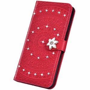 Surakey Coque iPhone SE 2020,Bling Paillette Glitter Strass Housse Etui à Rabat en Cuir PU Portefeuille Folio Flip Case Cover Fermeture Magnétique avec Fonction Stand (Mandala Rouge)