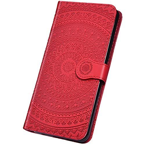 Surakey Coque iPhone SE 2020,Rétro Motif Mandala Fleur Housse Etui à Rabat en Cuir PU Portefeuille Folio Flip Case Cover Fermeture Magnétique avec Fonction Stand (Mandala Rouge)