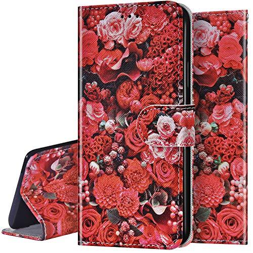 Surakey Coque pour iPhone SE 2020 Coque Housse Imprimé en PU Cuir étui à Rabat Folio Flip Case Coque de Protection Portefeuille Bookstyle Étui TPU Silicone Coque pour iPhone SE 2020,Rose rouge