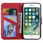 Surakey Etui Coque iPhone SE 2020,Protection Housse Etui à Rabat en Cuir PU Portefeuille Livre,Dessin Animé Animaux Flip Case Cover Fermeture Magnétique avec Fonction Stand,Rouge