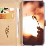 Surakey Etui Coque iPhone SE 2020,Protection Housse Etui à Rabat en Cuir PU Portefeuille Livre,Motif Feuilles de paillettes Flip Case Cover Fermeture Magnétique avec Fonction Stand, Rose