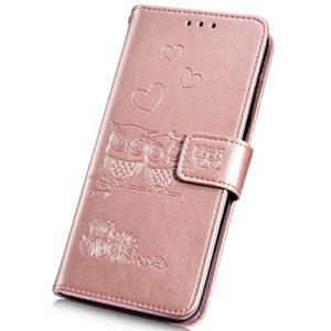 Surakey pour Coque iPhone SE 2020 étui à Rabat en Cuir PU,Fleur Hibou Motif Etui Housse Cuir PU Pochette Portefeuille Magnétique Flip Case Cover Wallet Coque de Protection (Or Rose)
